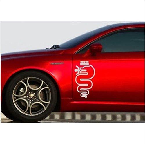 Alfa Romeo snake Biscione decal side decal set 2 pcs. L+R 48cm (white)