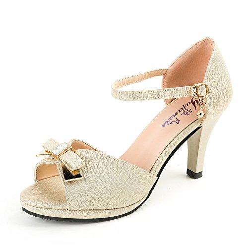zapatos Donyyyy zapatos mujer zapatos alto Forty Pescado de sandalias pajarita Boca los tacón de two grandes de rCq8wgr
