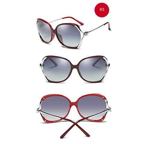 Off Color Rhinestones TangMengYun Frame Soleil White Conduite Fashion Soleil Polarisées Red Lunettes de Big de Lunettes de 0HO60