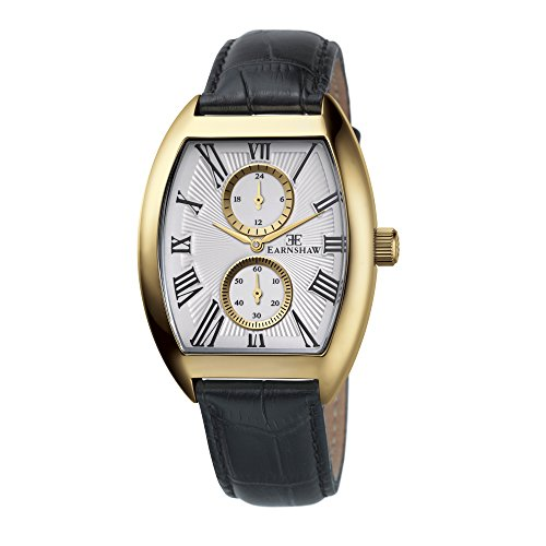 Thomas Earnshaw Men's 'HOLBORN' Quartz Stainless Steel And Leather Casual Watch, Color:Black (Model: ES-8004-03)
