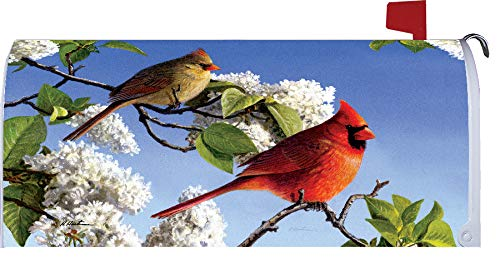 - Custom Decor Cardinals & Lilacs - Mailbox Makeover - Vinyl with Magnetic Strips for Steel Standard Rural Mailbox - Made in The USA - Copyright, Licensed and Trademarked Inc.