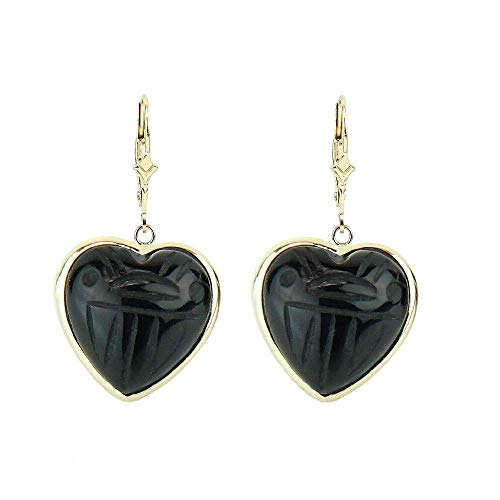 - 14K Yellow Gold Scarab Earrings With Dangling Heart Shaped Black Onyx Gemstones