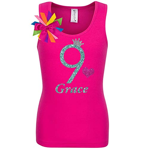9th Birthday Girl Shirt Jade Glitter Hot Pink Tank Top 9 Girls Rainbow Party Gift Personalized ()
