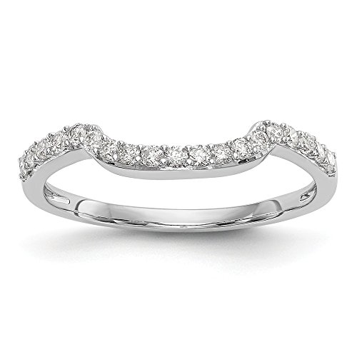 JewelrySuperMart Collection 1/4 CT 14k White Gold Curved Diamond Wedding Band. 0.23 ctw. Diamond Palladium Wedding Band