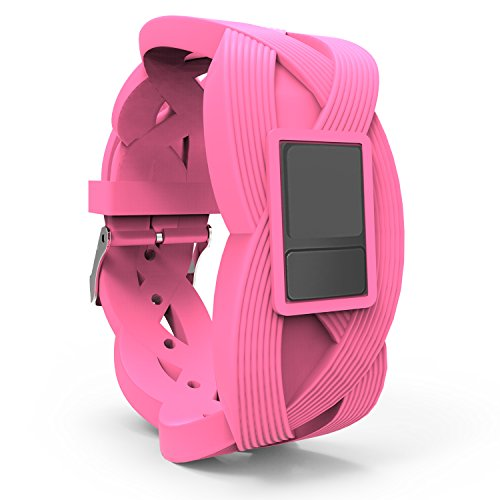 iBREK Garmin Vivofit 3 JR Replacement Bands with Buckle,Chic 3D Pattern(No Tracker)-Pink