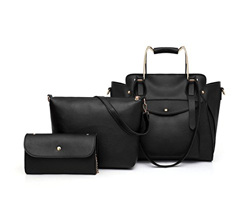 mano y Carteras bolsos 3pcs Set de Bolsos hombro Shoppers bandolera y Fekete Mujer clutches de 5pxzRq