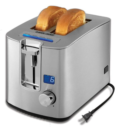 BLACK+DECKER TR1280S 2-Slice Toaster, Bagel Toaster, Stainless Steel
