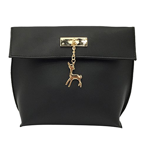 Price comparison product image Women Shoulder Bags,  kaifongfu Vintage Small Deer Pendant Handbag Casual Bag (171610cm,  Black)