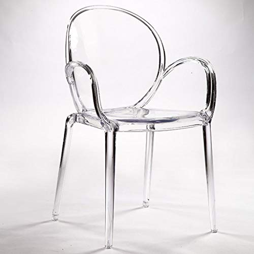 Barstools European-Style Full Transparent Dining Chair Fashion Designer Armchair Modern Minimalist Crystal Dressing Chair 0709A (Color : Transparent)