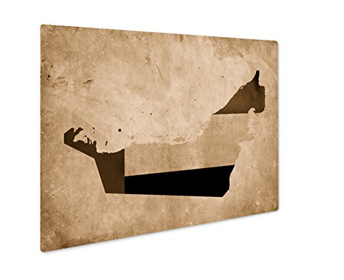 (Ashley Giclee Vintage Map of United Arab Emirates On Grunge Paper, Wall Art Photo Print On Metal Panel, Sepia, 24x30, Floating Frame, AG6568975)