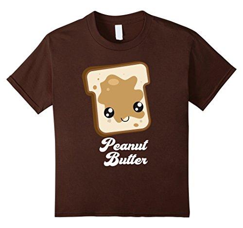 J Costume (Kids Matching Set: PB&J Costume Peanut Butter T-Shirt 10 Brown)