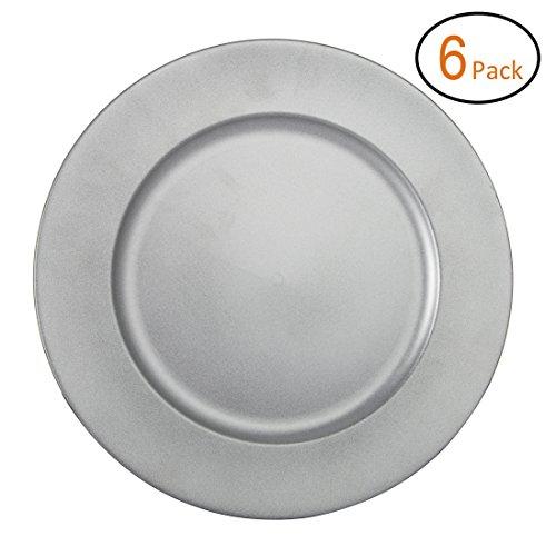 Fantástico :) platos de cargador redondos de plástico de 33 cm con acabado de recubrimiento en polvo, Matte Plain Silver, 6