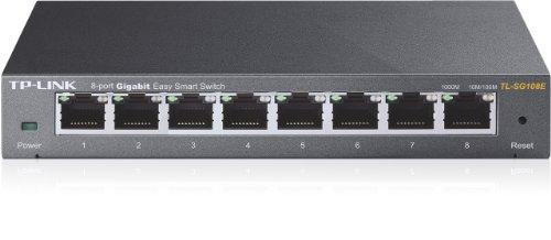 Switch TP-LINK TL-SG108E de 8 puertos Gigabit de 10/100/1000 Mbps, puertos RJ45, MTU/Port/Tag-Based VLAN, QoS y IGMP