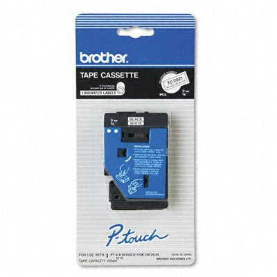 Brother Tc Tape Cartridge For P-Touch Labelers, 3/8W, Black On White