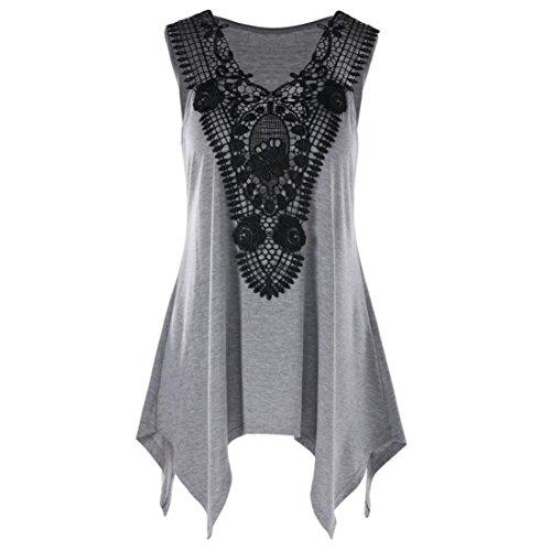 Women Vest, Limsea Sleeveless Irregular T-Shirt Plus Size V Neck Lace Trim Tank Top T-Shirt (5XL(US:18), Gray) (Top V-neck Embroidered Petite)