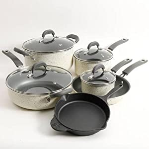 Pioneer Woman Non-stick Pre-seasoned Cookware Set Speckle 10-piece