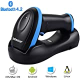 Trohestar Bluetooth Barcode Scanner with USB Cradle,Compatible with Bluetooth Function & 2.4GHz Wireless & Wired Connection Portable 1D Bar Code Reader Scanner for Windows, Mac, Android, iOS