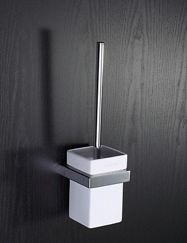 XY&XH Toilet Brush Holder , Wall Mounted Square White Ceramic Toilet Brush Holder with Black Toilet Brush , ivory by XY&XH