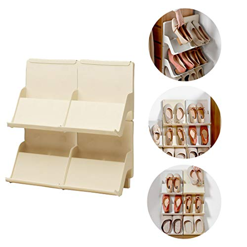 Stackable Shoe Rack, Wall Mount Shoe Rack for Storage Shoe, 4 Pack DIY Multi-Layer Hangable stackable Shoe Storage for Bedroom, Entryway and Hallway
