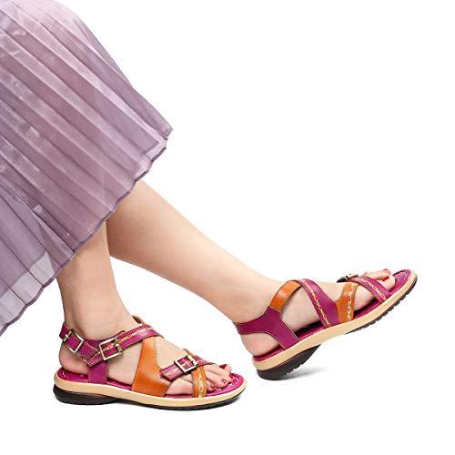 Hecho Naranja Estilo Azul Chanclas 2019 De Rojo Talla Zapatos 37 Cuero Dedo Para Gracosy Mujer Bohemia Sandalias A Mano Los Verano 1 Grande Planas 42 Romanas Púrpura UR4qC1wx