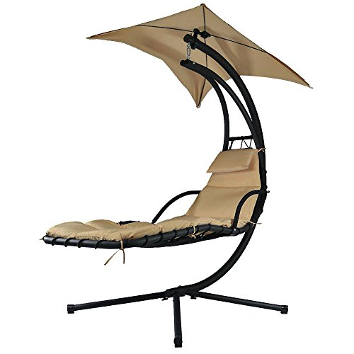Sunnydaze Beige Floating Chaise Lounger Swing Chair with Canopy Umbrella, 43 Inch Wide x 80 Inch Tall