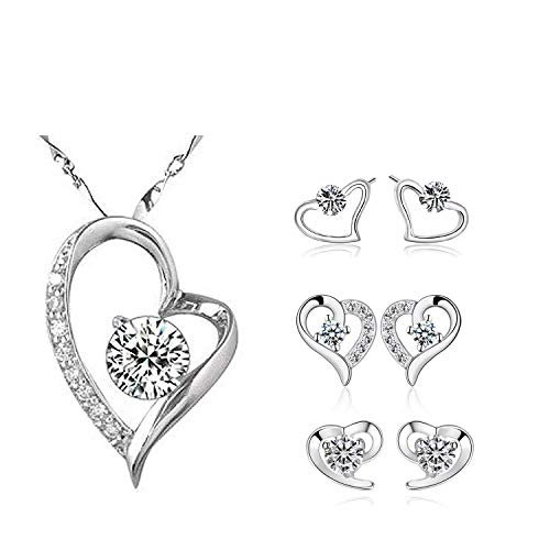 ZYX 3 Pairs Sterling Silver Heart-Shaped Earrings and Forever Love Heart Diamond Pendant ()