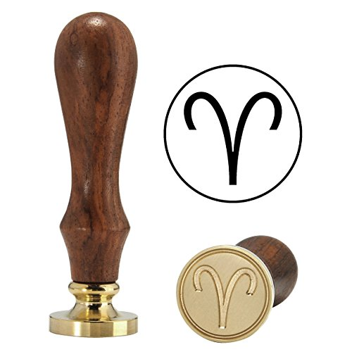 Aries Wax Seal Stamp, Yoption Vintage Retro Twelve Constellations Brass Head Wooden Handle Sealing Wax Classic Seal Stamp (Aries Head)