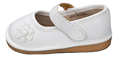 Anderson Baby Care LLC Squeaky Shoes for Toddler Girls (6T, White Mary Jane) -