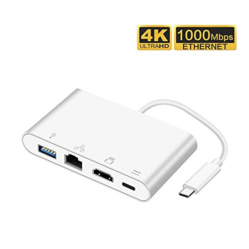 USB-C to 4-Port Hub USB 3.0 +HDMI 4K+RJ45 Gigabit Ethernet Network +Tyoe c Power Delivery Adapter,for USB Type-C Devices Including MacBook, Mac Pro/Mini, iMac etc. from Traioy