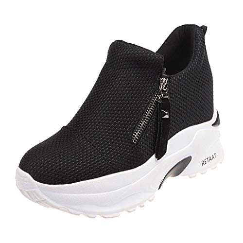 ANOKA Sneakers for Girls Sale Woman Fashion Solid Thick Platform Shoes with Zip Casual Sneakers Shallow Shoes Black Size 6