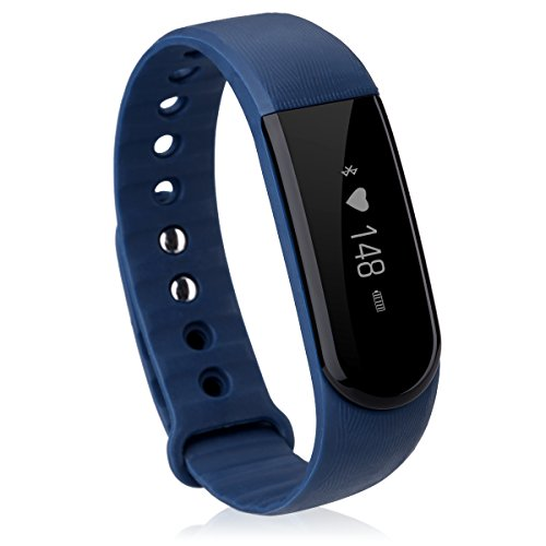 Diggro ID101 Bluetooth Smart Bracelet Waterproof Smart Wristband Sport Fitness Tracker with Heart Rate Monitor Sleep Monitor Pedometer Step Counter Call/SMS Reminder for Android iOS, Blue