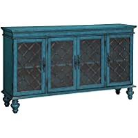 Treasure Trove Accents 17461 Four Door Media Credenza, Teal Blue