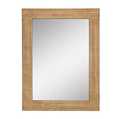 Stonebriar Rectangle Natural Wood Hanging Wall Mirror, Medium, Brown - This unique mirror measures 18 x 24 and is the perfect size for a bathroom vanity mirror or an accent mirror for any wall in your home This stylish mirror features a crystal clear reflection and a lightly distressed natural wooden frame giving a vintage feel This stylish and eye-catching decor piece is the perfect addition to your bathroom, living room, bedroom, office, and entryway - bathroom-mirrors, bathroom-accessories, bathroom - 41EVFeqR2aL. SS400  -