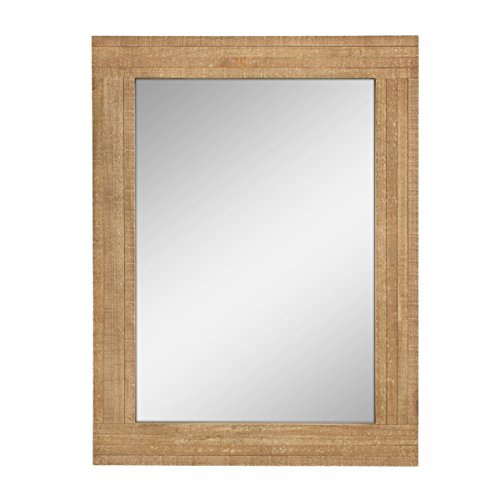 Stonebriar Rectangle Natural Wood Hanging Wall Mirror, Medium, - Wooden Mirrors Bathroom Rectangular