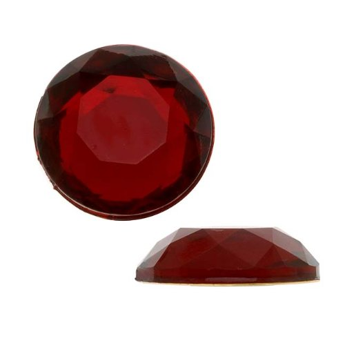 (Beadaholique Vintage Lucite Plastic Flatbacks Faceted Round Ruby Red SS86 20mm (8))