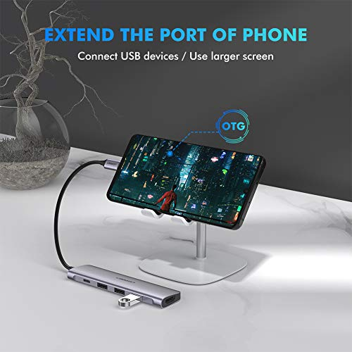 UGREEN USB C Hub 5 in 1 Type C 3.1 to 4K HDMI, 3 USB 3.0 Ports, PD Charging Port Multiport Adapter Thunderbolt 3 Dock Station Dongle Compatible for MacBook Pro 2018 2017, Galaxy Note 10 S10 S9 S8 Plus