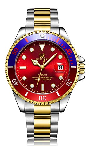 Mini Solid Gold Watch - Luxury Automatic Mechanical Watch Men Stainless Steel Business Date Luminous Sports Waterproof Watches (Gold red)