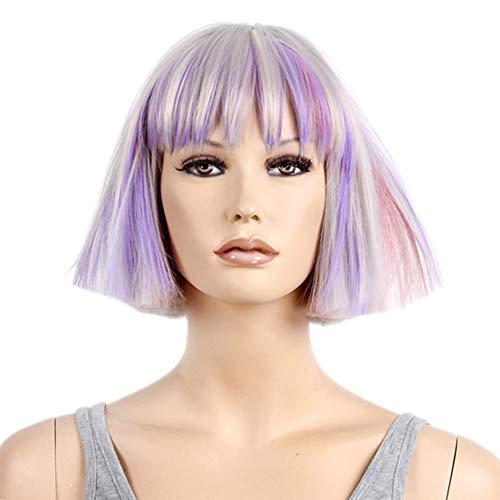 JINGF Halloween Colorful Wig, Short Hair Wave Head Fashion Holiday Wig Set -