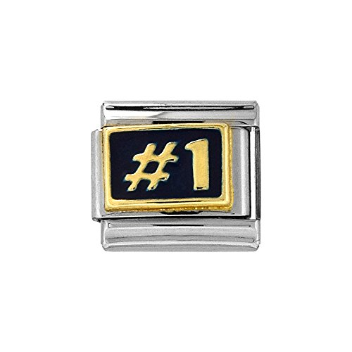 Number 1 Italian Charm (Stainless Steel 18k Gold Italian Charm Bracelet Link Number 1 Charm 9mm Blue Enamel)