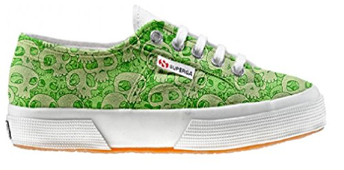 Superga Customized Chaussures Coutume Green Skull (produit artisanal)