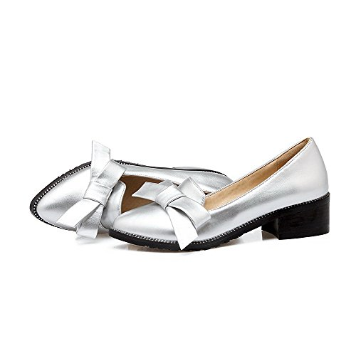 VogueZone009 Women's PU Kitten-Heels Pointed Closed Toe Solid Pull-On Pumps-Shoes Silver rkYogkfWEH