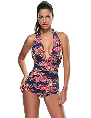Kathlena Ruched V Neck Backless Floral One Piece Swimsuit Swimdress(FBA)