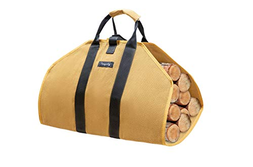 Tangcity Canvas Firewood Log Carrier Tote Bag,Camping Fire-Pit Campfire Accessories Tote Bag,Fireplace Stove Accessories Fireplace Log Holders Indoor Big Green Egg Accessories