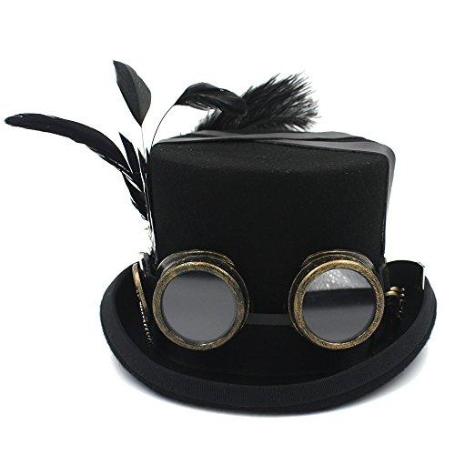 Diy Mujeres 57cm Unisex Para Yongyeyaoben Sombrerería color 4 Sombrero Lana De Tamaño Hombres Gafas Copa Fedora 1 Steampunk aPqqtxR