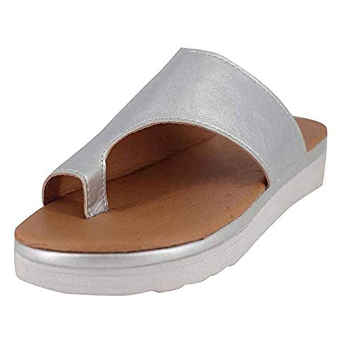 - Susanny Slides for Women Plaform Wedge Sandals Low Heels Ring Toe Slippers Summer Cutout Shoes Silver 9 B (M) US