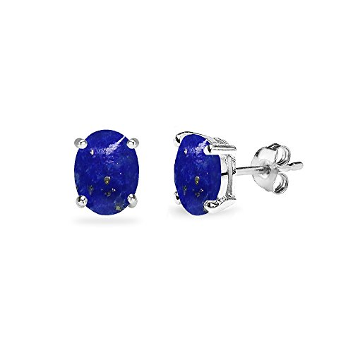 Sterling Silver Simulated Lapis Oval 6x4mm Prong-set Stud Earrings