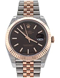 Datejust 41 Chocolate Dial 18K Rose Gold and Steel Mens Watch 126331