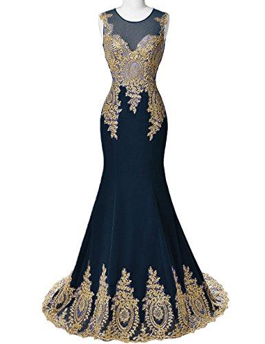 DYS Women's Lace Appliques Mermaid Prom Evening Formal Dresses Illusion Neck Navy US 18Plus