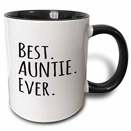 3dRose 151475_4 Best Auntie Ever Mug, 11 oz, Black