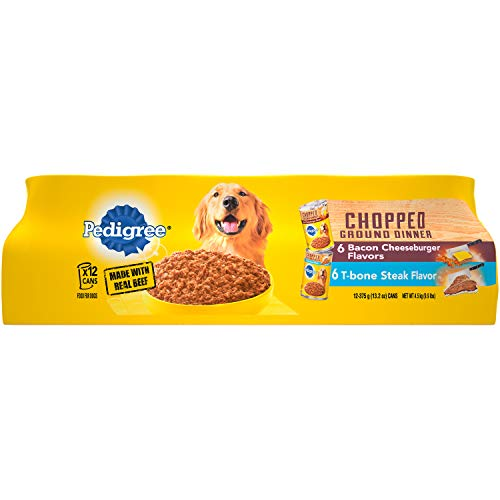 Pedigree Chopped Ground Dinner T-Bone Steak Flavor and Bacon Cheeseburger Flavors Adult Canned Wet Dog Food Variety Pack, (12) 13.2 oz. Cans